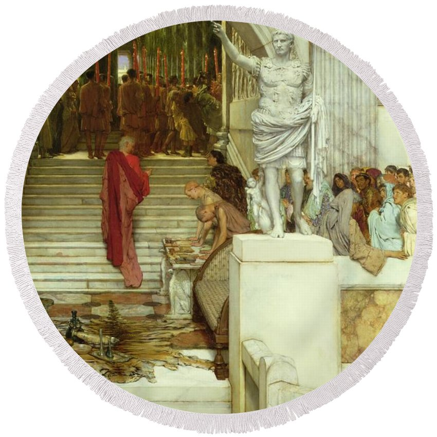 After Round Beach Towel featuring the painting After The Audience by Sir Lawrence Alma-Tadema
