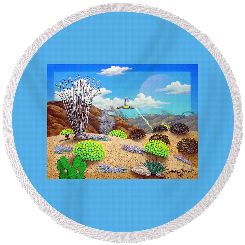 Desert Round Beach Towel featuring the painting Afternoon Attack by Snake Jagger