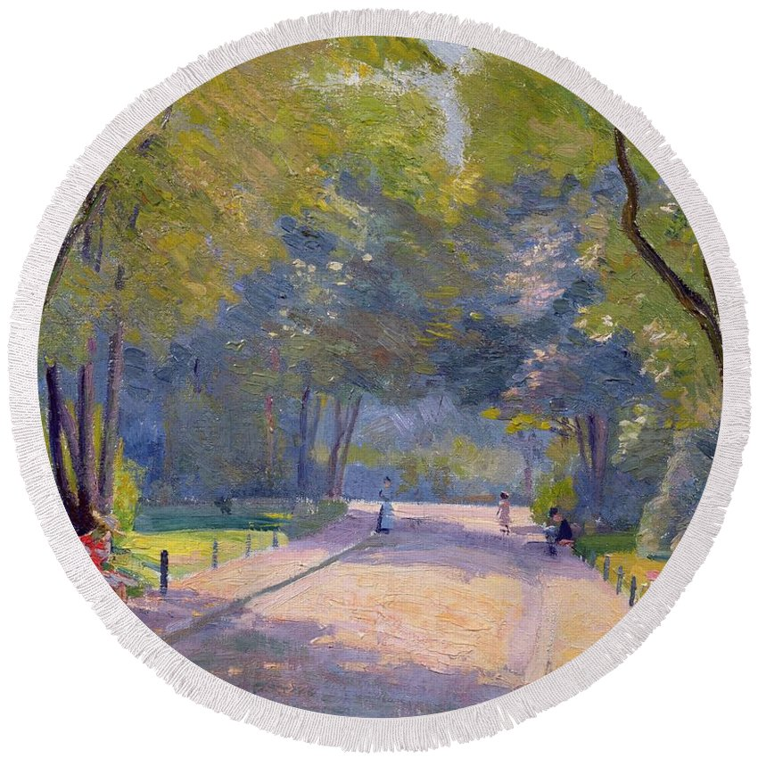 Landscape; Urban Life; Shadows Round Beach Towel featuring the painting Afternoon In The Park by Hippolyte Petitjean