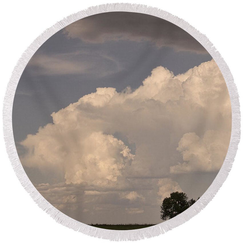 Afternoon Round Beach Towel featuring the photograph Afternoon Thunderstorm Building East Boulder County Co Plains by James BO Insogna