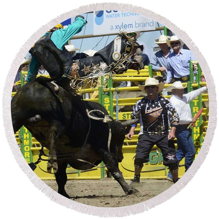 Rodeo Bull Riding Round Beach Towel featuring the photograph Rodeo Airborne Division by Bob Christopher