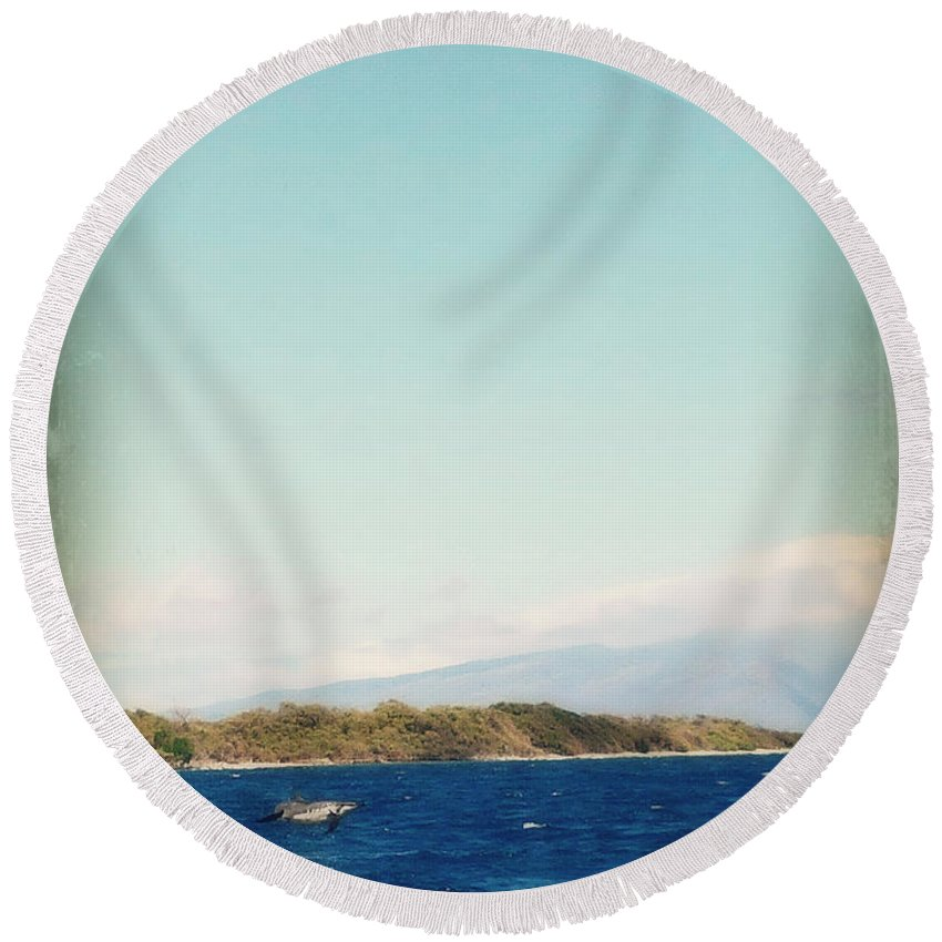 Nature Round Beach Towel featuring the photograph Airborne by Paulette B Wright