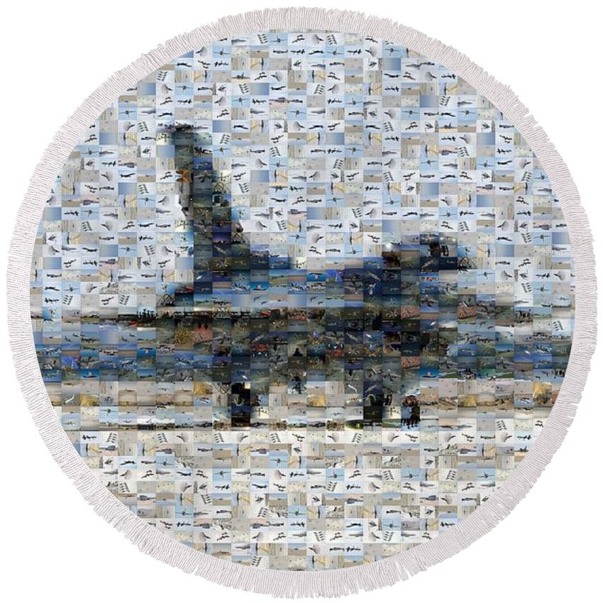 Airforce Round Beach Towel featuring the photograph Airforce F-4866 Mosaic by Darleen Stry