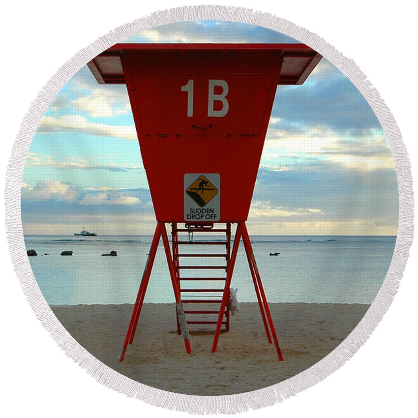 Hawaii Round Beach Towel featuring the photograph Ala Moana Lifeguard Station by Mark Gilman