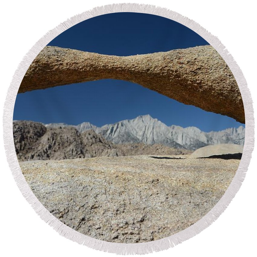 Alabama Hills Arch Round Beach Towel featuring the photograph Alabama Hills Arch by Cassie Marie Photography