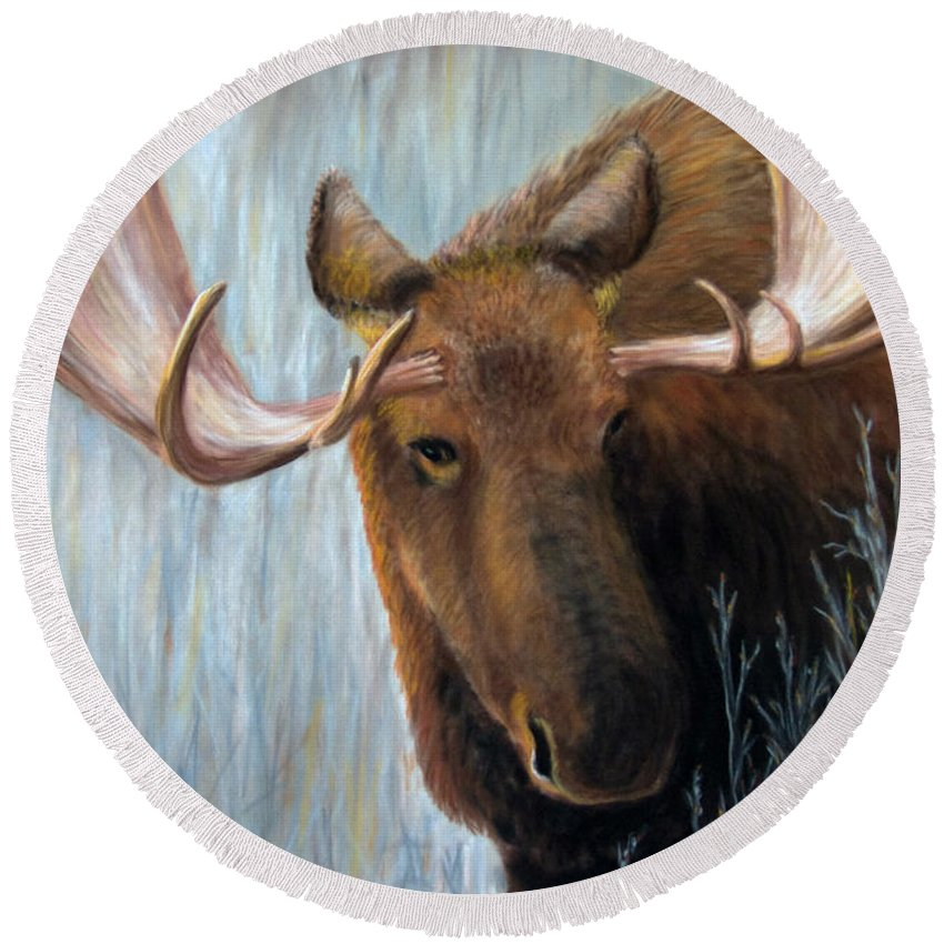Moose Round Beach Towel featuring the painting Alaskan Bull Moose by Dee Carpenter