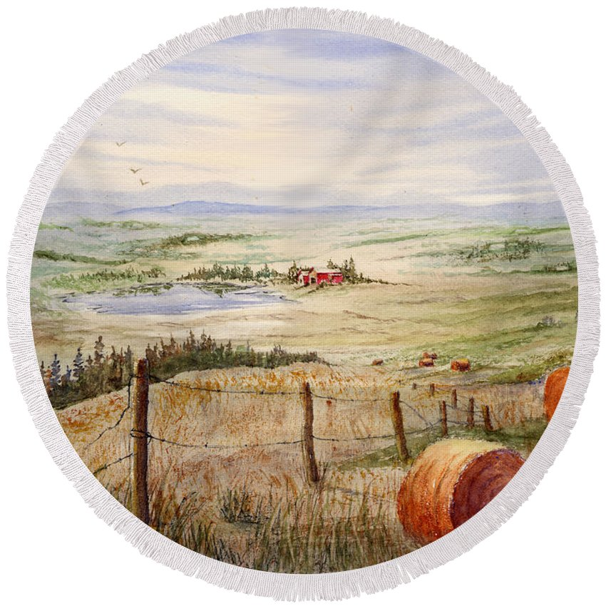 Round Beach Towel featuring the painting Alberta Foothills by Mohamed Hirji