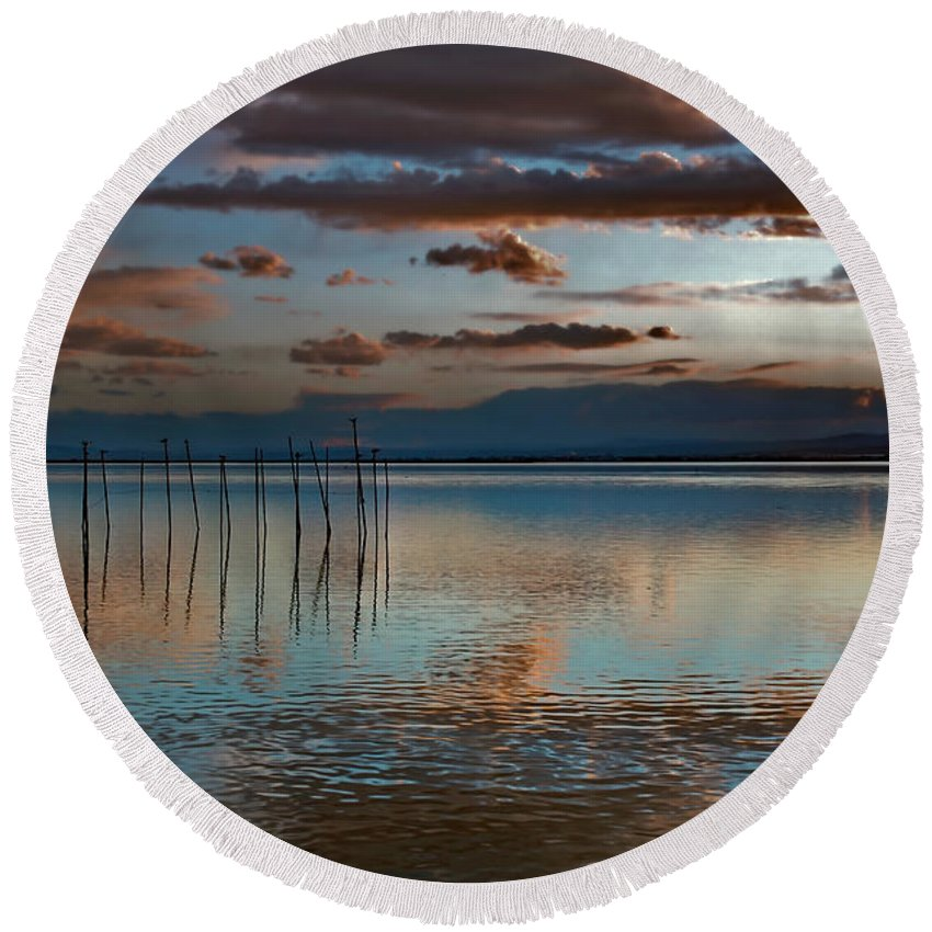 Albufera Lagoon Round Beach Towel featuring the photograph Albufera Blue And Rose. Spain by Juan Carlos Ferro Duque