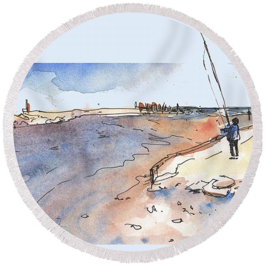 Travel Round Beach Towel featuring the painting Albufera De Valencia 08 by Miki De Goodaboom