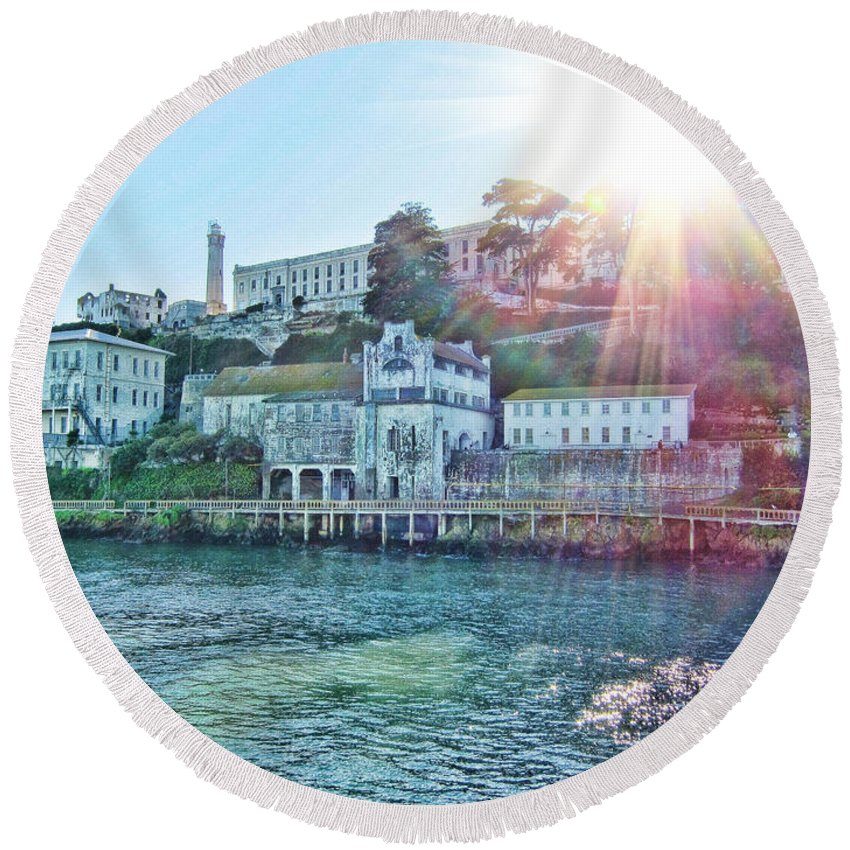 Alcatraz-maximum Security Prison San Francisco Round Beach Towel featuring the photograph Alcatraz-maximum Security Prison by Douglas Barnard