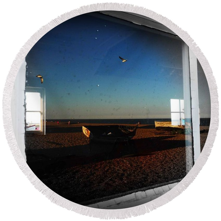 Window Round Beach Towel featuring the photograph Aldeburgh by Charles Stuart