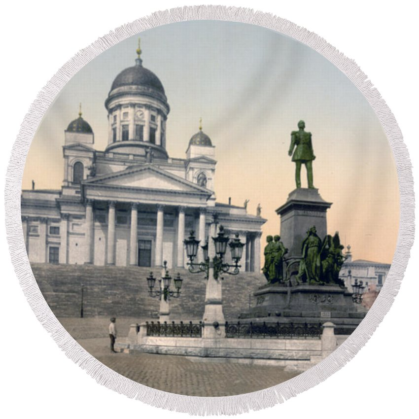 Helsinki Round Beach Towel featuring the photograph Alexander II Memorial At Senate Square In Helsinki Finland by International Images