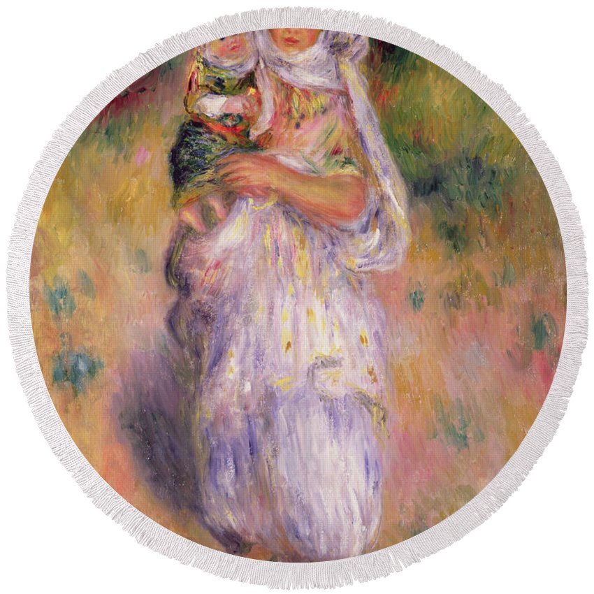 Algerian Round Beach Towel featuring the painting Algerian Woman And Child by Pierre Auguste Renoir