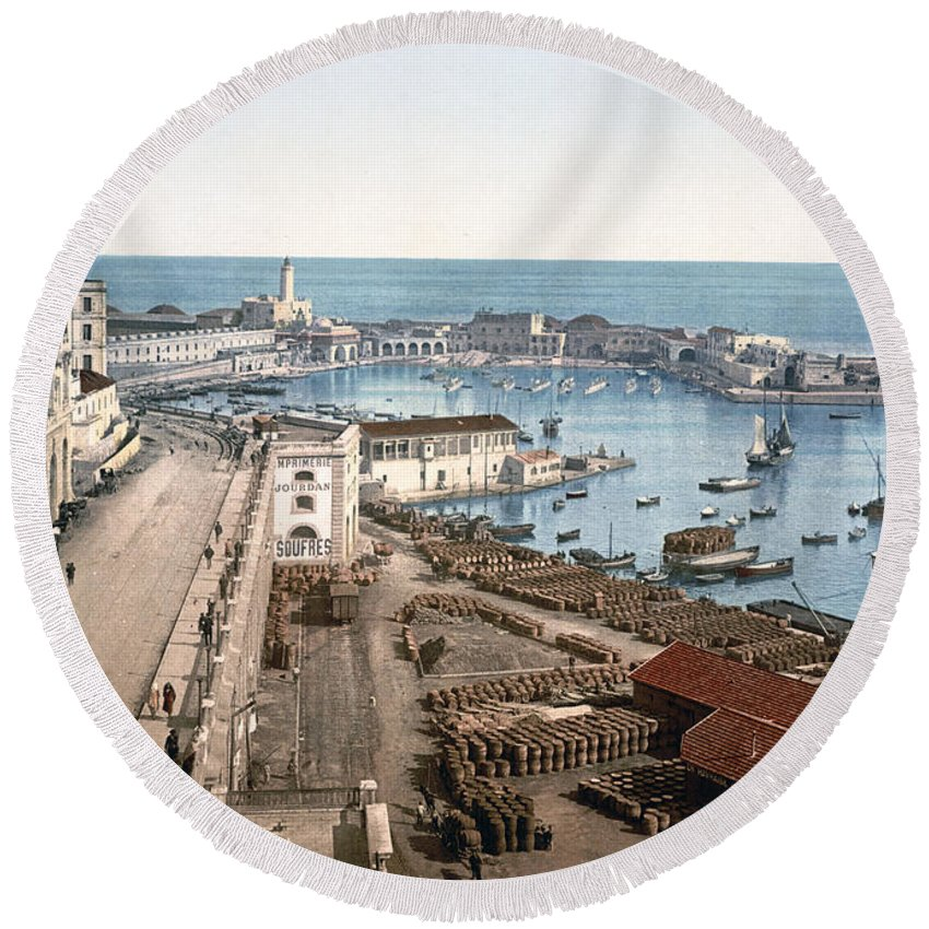 Algiers Round Beach Towel featuring the photograph Algiers - Algeria - Harbor And Admiralty by International Images