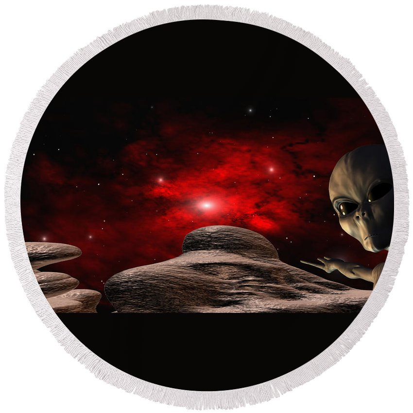 Space Round Beach Towel featuring the digital art Alien Planet by Robert aka Bobby Ray Howle