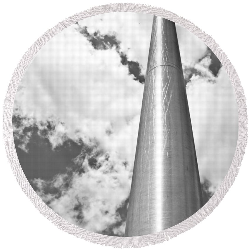 Black And White Round Beach Towel featuring the photograph All About Perspective by Janie Johnson