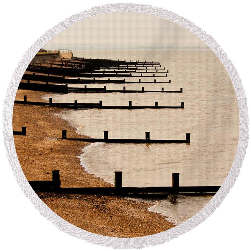 All Hallows Round Beach Towel featuring the photograph All Hallows Beach by Dawn OConnor