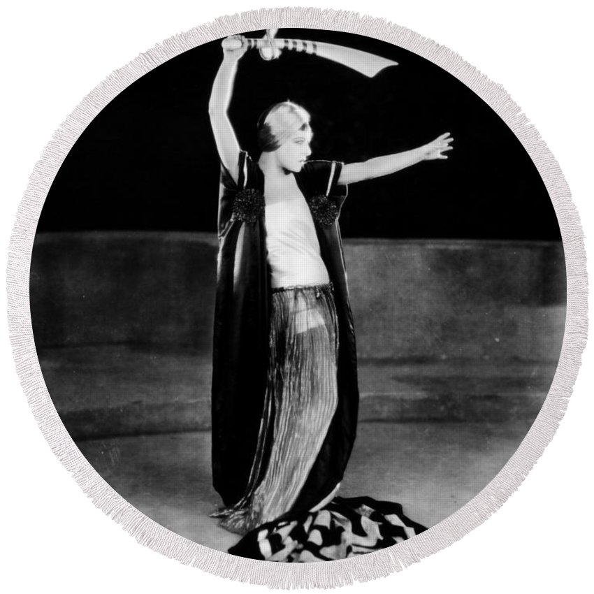 1922 Round Beach Towel featuring the photograph Alla Nazimova (1879-1945) by Granger
