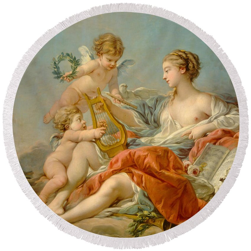 Allegory Round Beach Towel featuring the painting Allegory Of Music by Francois Bouche