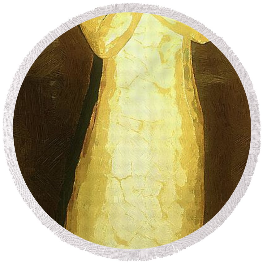 Figure Round Beach Towel featuring the painting Almost An Angel by RC DeWinter