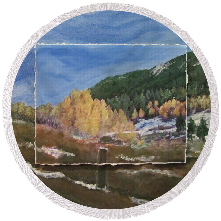 Custom Art For Client Birthday Using Colorado Roadside Photo Round Beach Towel featuring the mixed media Almost Winter by Anita Burgermeister