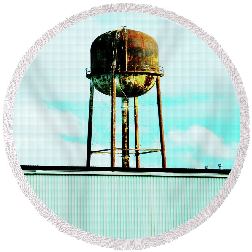 Water Tower Round Beach Towel featuring the photograph Along Highway 61 by Lizi Beard-Ward