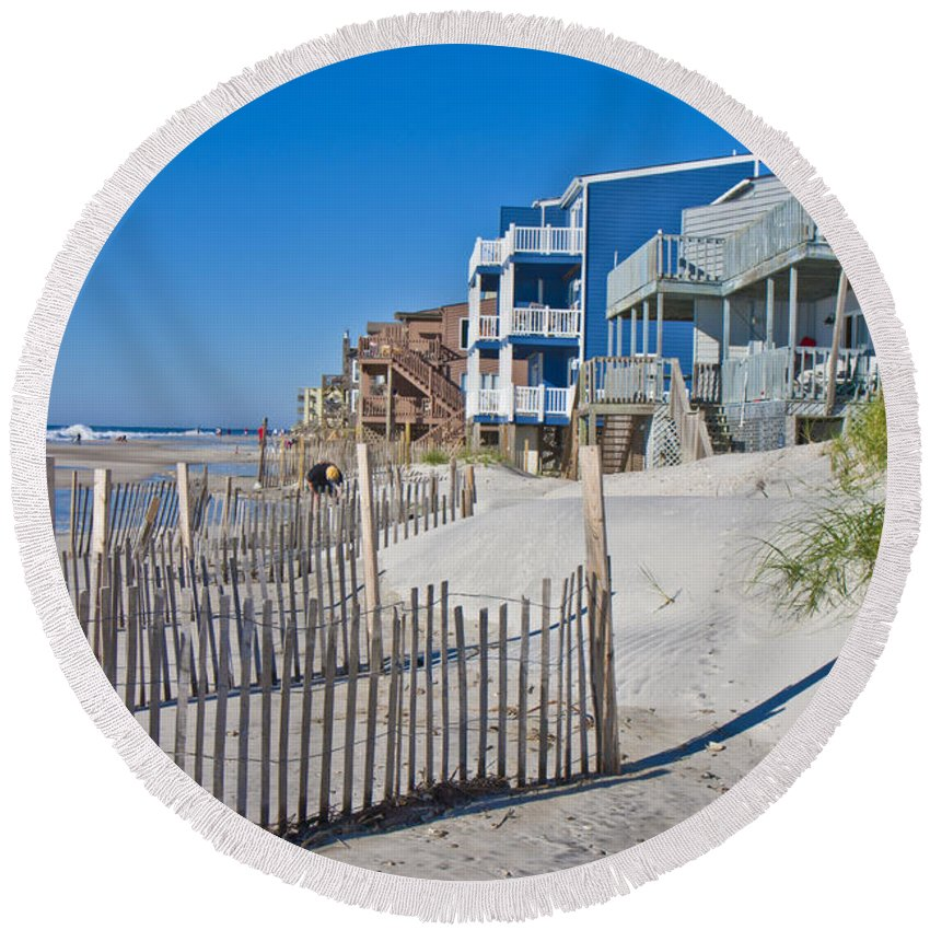 Topsail Round Beach Towel featuring the photograph Along The Beach by Betsy Knapp