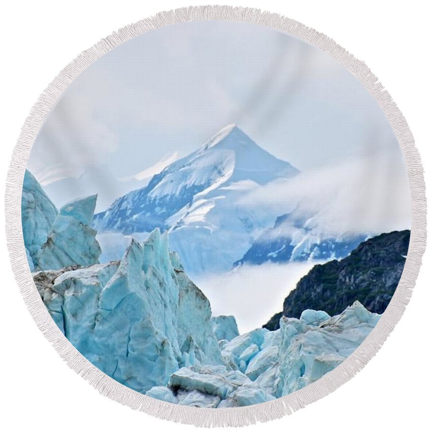 Glacier Round Beach Towel featuring the photograph Alpha And Omega by Eric Tressler