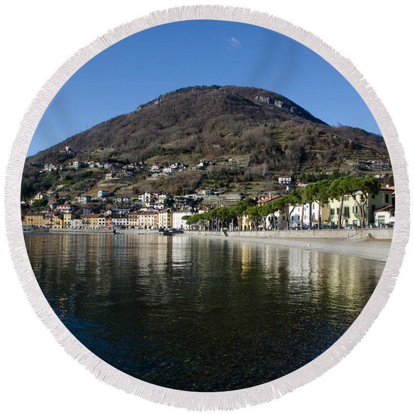 Village Round Beach Towel featuring the photograph Alpine Village Reflected In The Lake by Mats Silvan