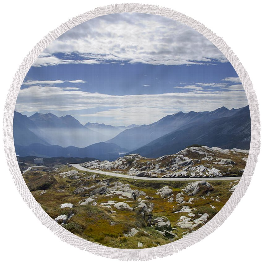 Panoramic View Round Beach Towel featuring the photograph Alps And Road by Mats Silvan