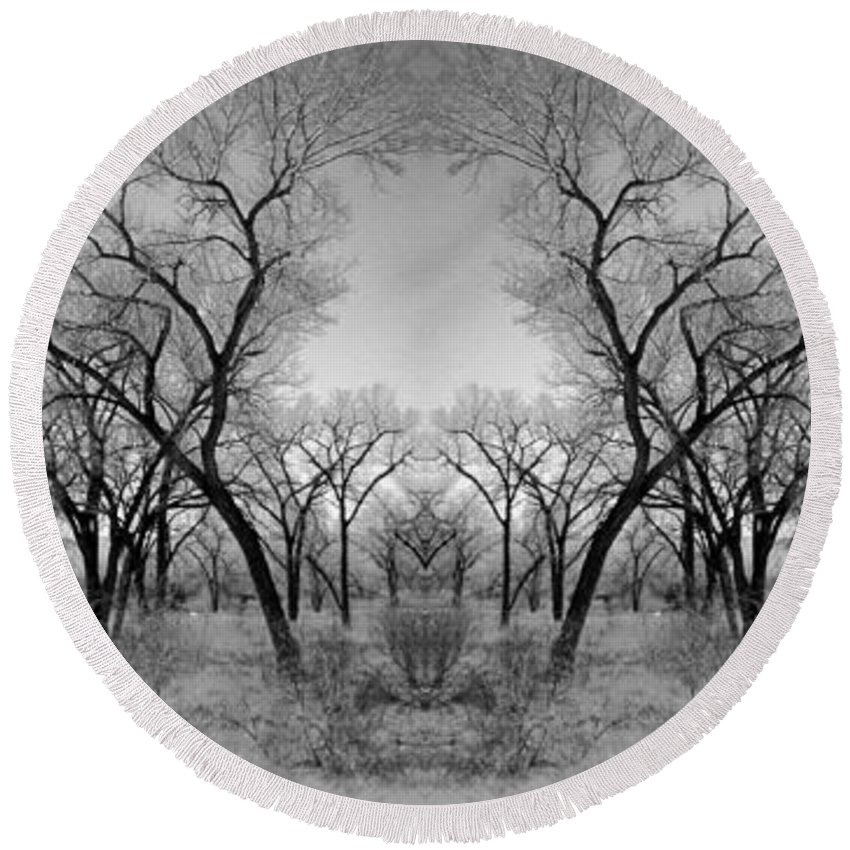 Landscape Round Beach Towel featuring the photograph Altered Series - Bare Double by Kathleen Grace