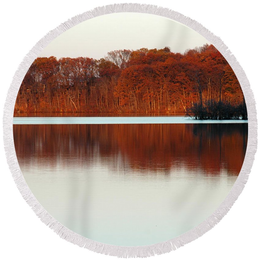 Autumn Round Beach Towel featuring the photograph Amber Autumn Lake by Mike Nellums