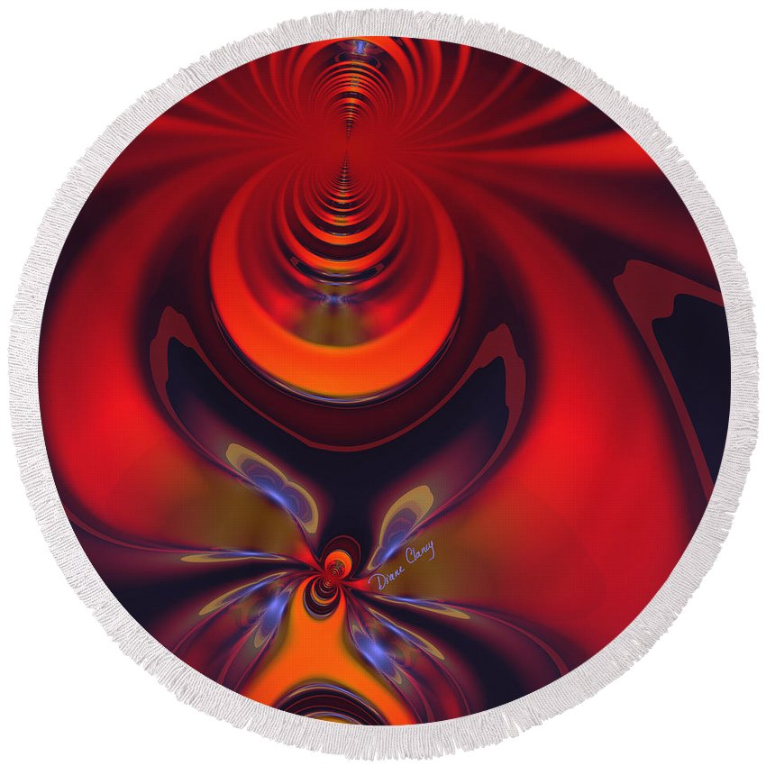 Colorful Round Beach Towel featuring the digital art Amber Goddess by Diane Clancy