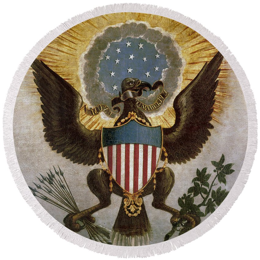 18th Century Round Beach Towel featuring the painting America - Great Seal by Granger