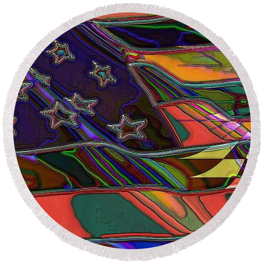 Flag Round Beach Towel featuring the digital art American Flag 1 by Ron Bissett