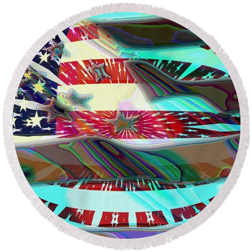 Flag Round Beach Towel featuring the digital art American Flag 2 by Ron Bissett