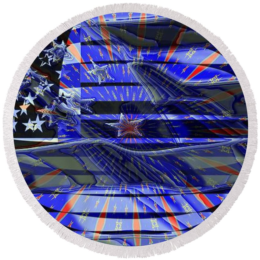 Flag Round Beach Towel featuring the digital art American Flag 3 by Ron Bissett