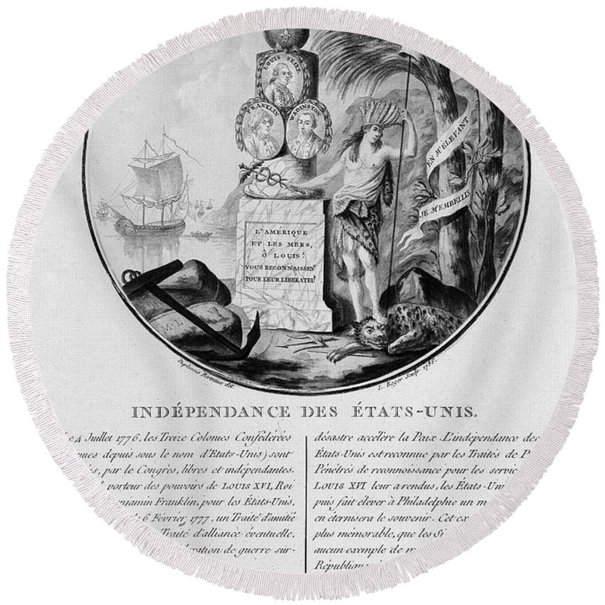 1786 Round Beach Towel featuring the photograph American Independence by Granger