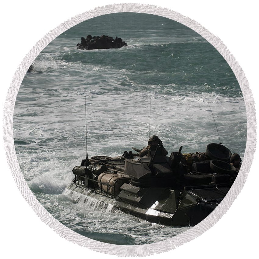 Military Round Beach Towel featuring the photograph Amphibious Assault Vehicles Transit by Stocktrek Images