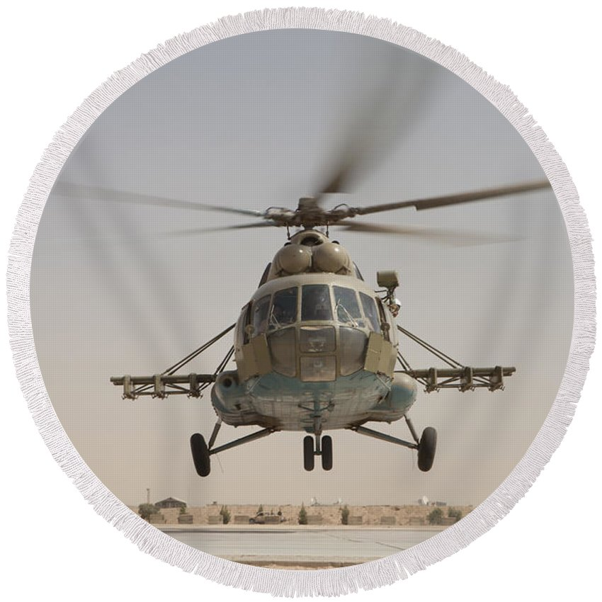 Mil Mi-17 Round Beach Towel featuring the photograph An Afghan Air Force Russian Mil Mi-17 by Stocktrek Images