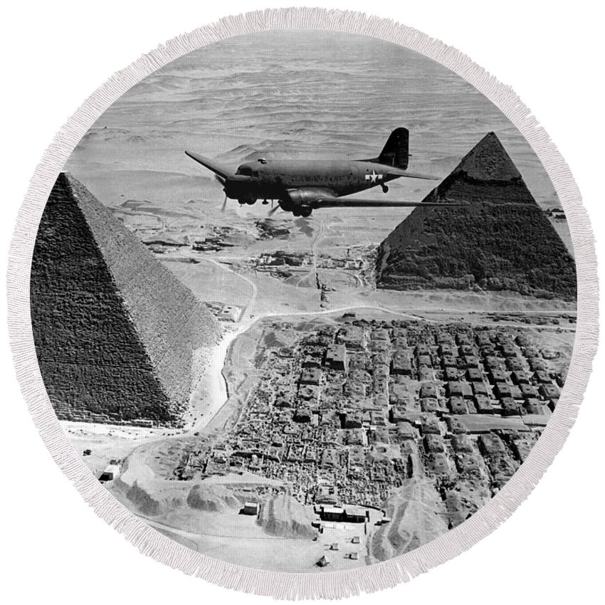 Army Round Beach Towel featuring the photograph An Air Transport Command Plane Flies by Stocktrek Images