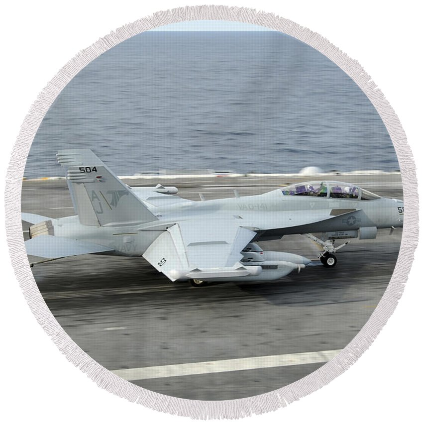 Aircraft Round Beach Towel featuring the photograph An Ea-18g Growler Makes An Arrested by Stocktrek Images