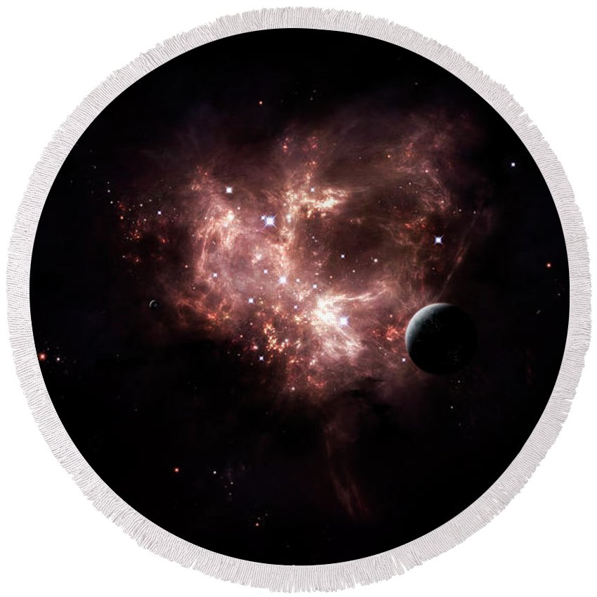 Artwork Round Beach Towel featuring the digital art An Emission Nebula Is Viewed From Neaby by Brian Christensen