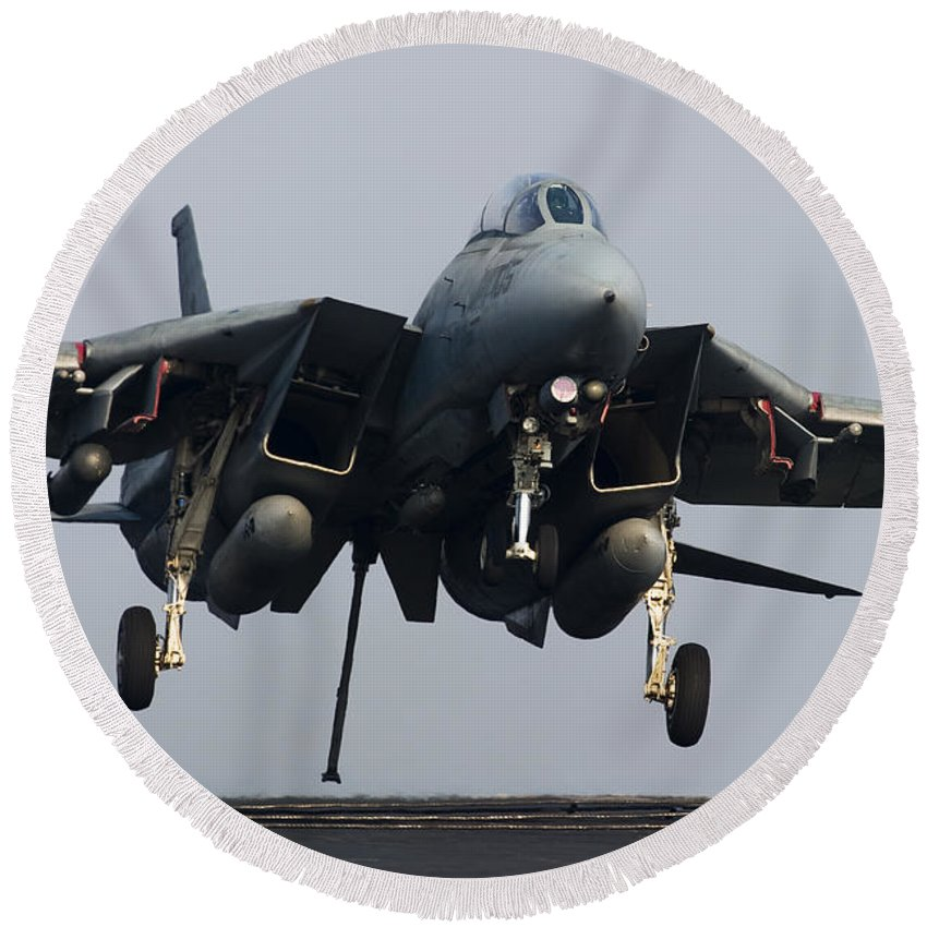 Grumman Round Beach Towel featuring the photograph An F-14d Tomcat Comes In For An by Gert Kromhout