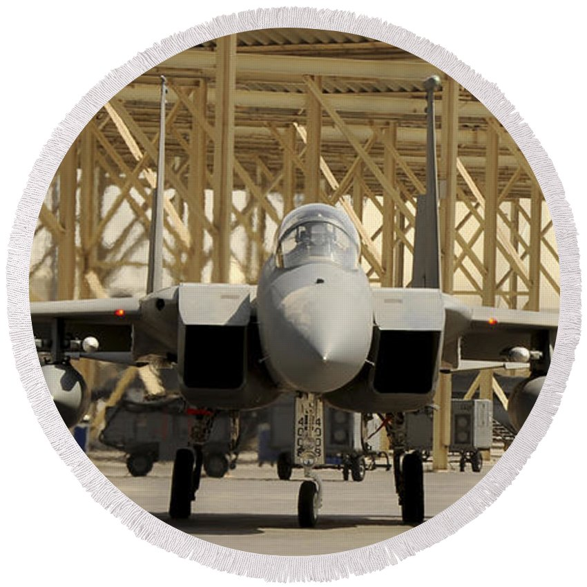 Southwest Asia Round Beach Towel featuring the photograph An F-15 Eagle Taxis Prior To A Training by Stocktrek Images
