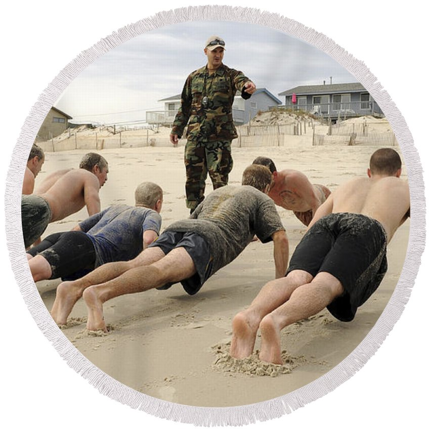 Toughness Round Beach Towel featuring the photograph An Instructor Observes Recruits by Stocktrek Images