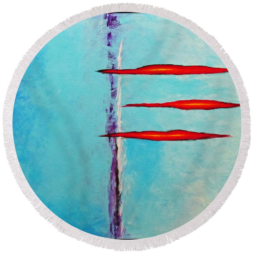 Abstract Round Beach Towel featuring the painting An Issue With Blue by Snake Jagger