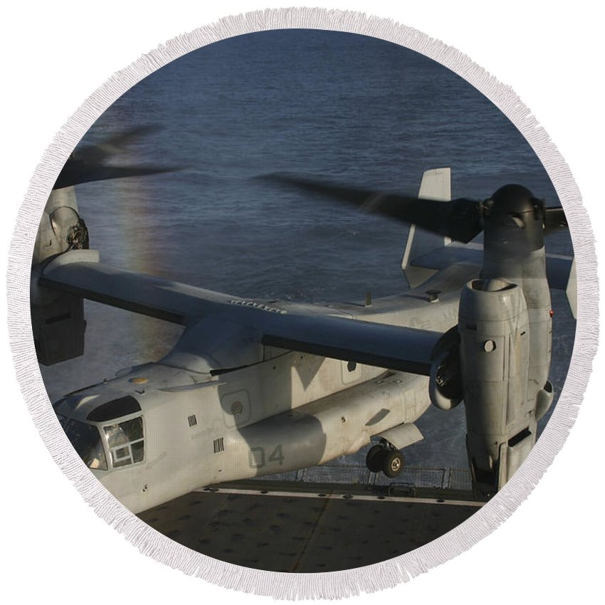 Rainbow Round Beach Towel featuring the photograph An Mv-22 Osprey Prepares To Land Aboard by Stocktrek Images