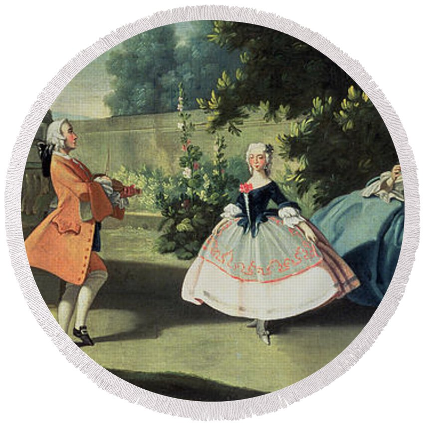 Fruit; Wig; Mother; Child; Boy; Watermelon; Neapolitan Round Beach Towel featuring the painting An Ornamental Garden With A Young Girl Dancing To A Fiddle by Filippo Falciatore