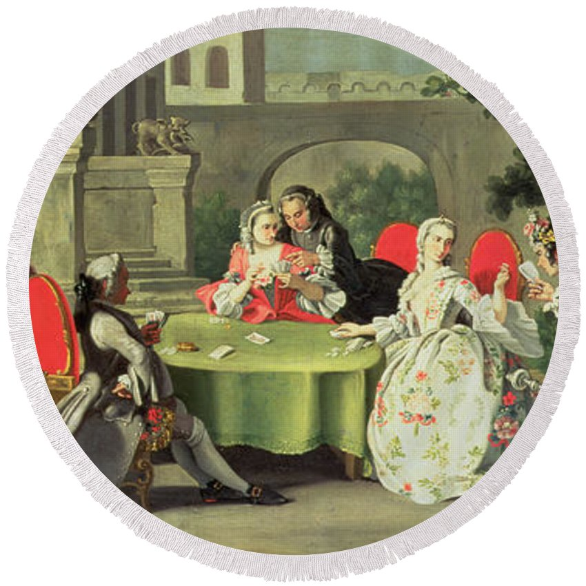 Terrace; Frock Coat; Messenger ;couple; Fig; Neopolitan Round Beach Towel featuring the painting An Ornamental Garden With Elegant Figures Seated Around A Card Table by Filippo Falciatore